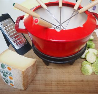 Comte Fondue with Deep-Fried Brussels Sprouts